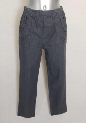 Pantalon jeans gris femme ronde taille élastique