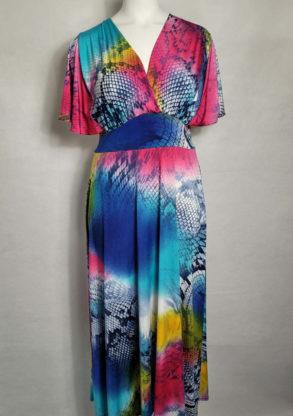 Robe longue colorée femme grande taille col V