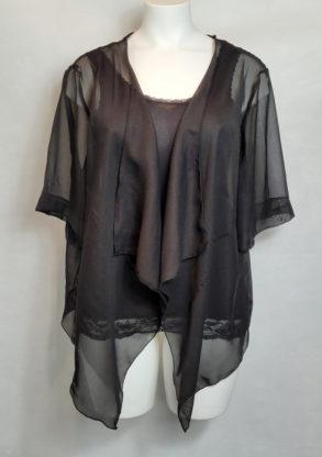 veste boléro voile noir chic femme grande taille