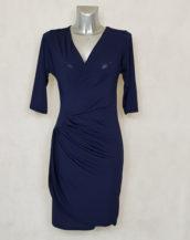 Robe femme fluide drapée à manches marine unie