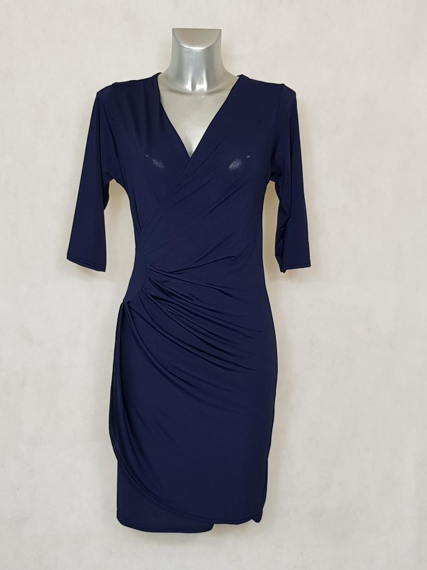 robe-femme-fluide-drapée-a-manches-marine-unie