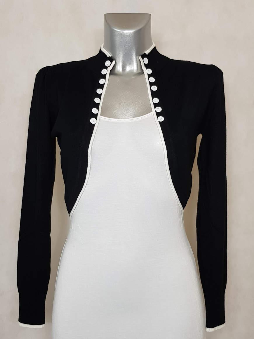 veste-bolero-femme-noir-liseré-blanc