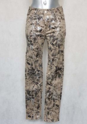 Pantalon femme fuselé taille haute à motif feuille