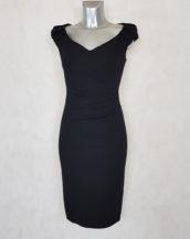 robe femme drapée sans manches noir unie