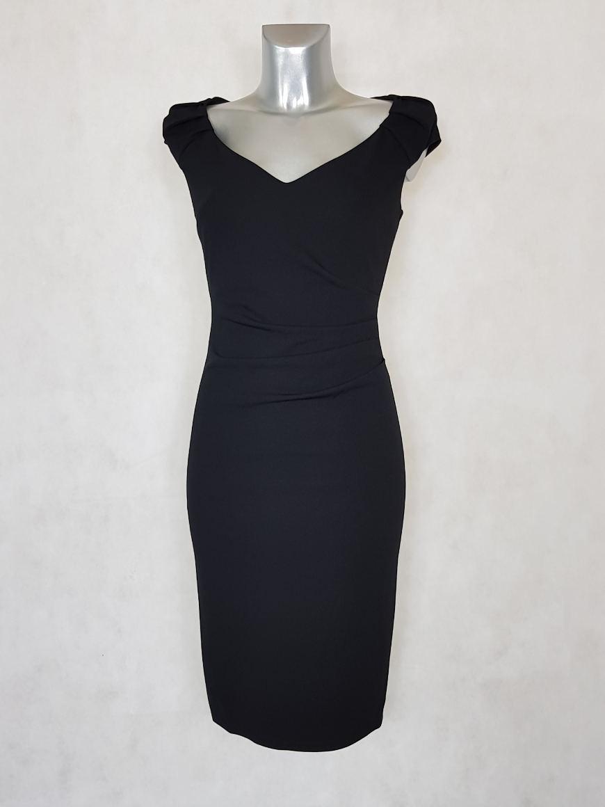 robe-femme-drapee-sans-manches-noir-unie