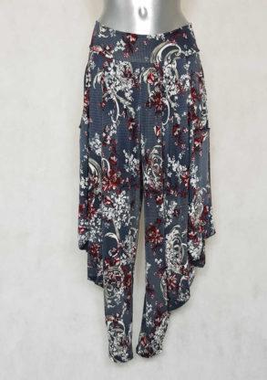 Pantalon femme sarouel fluide gris motif baroque
