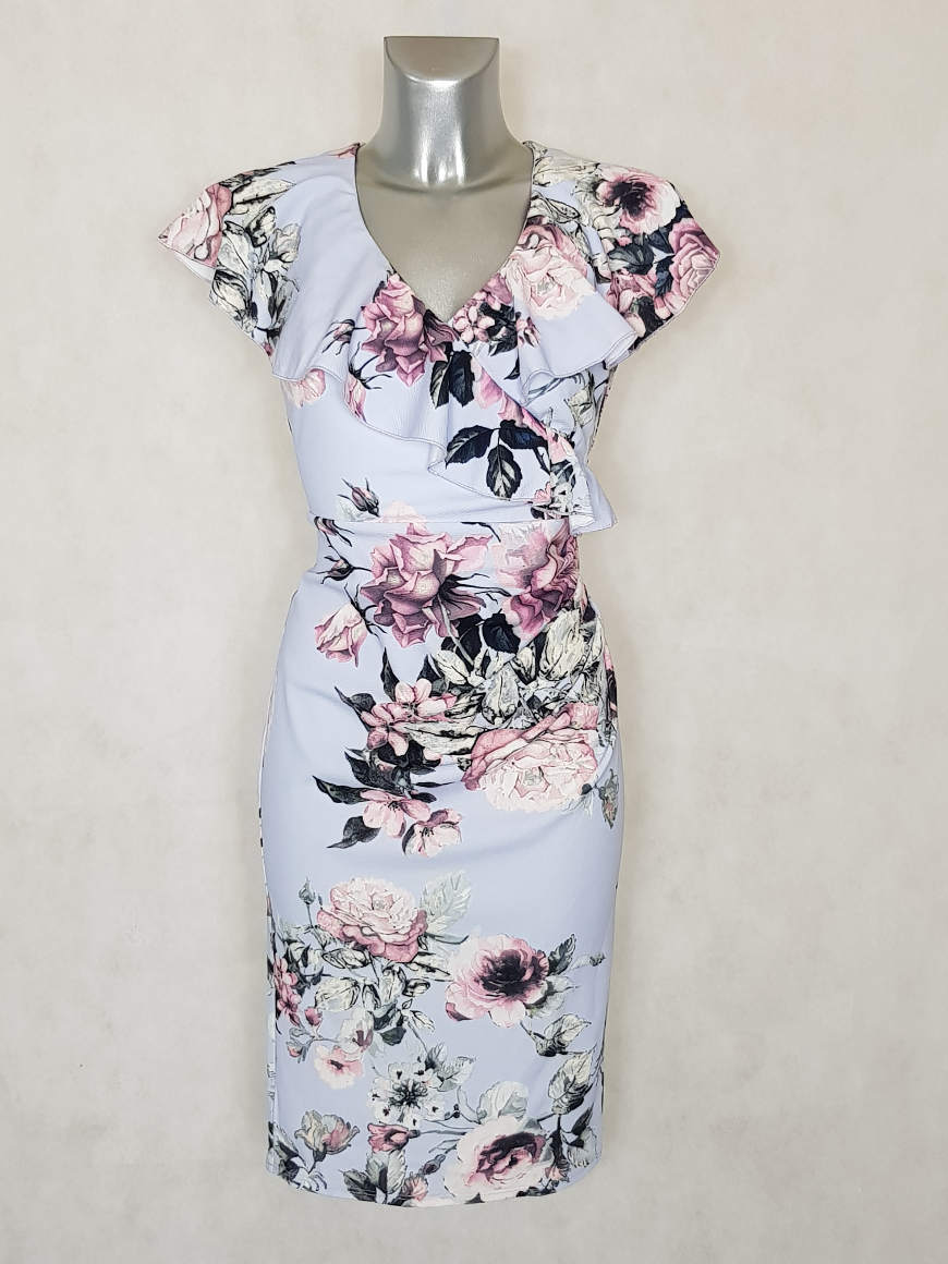 robe-femme-drapee-florale-a-volants-et-manches