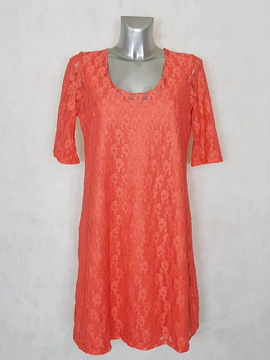 robe-femme-courte-trapeze-a-dentelle-corail-manches-courtes1