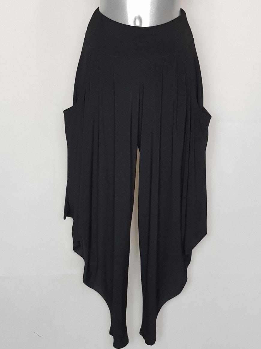 Pantalon style sarouel chic noir femme taille élastiquée1