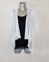 Gilet court en voile transparent blanc femme ronde manches courtes