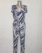 Combinaison grande taille femme taille élastique motif abstrait col bénitier
