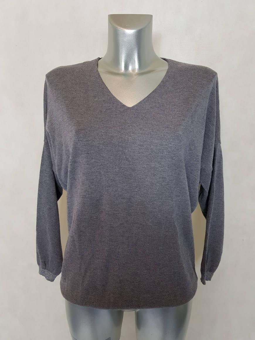 pull femme droit maille fine gris manches longues caprices de madeleine. Black Bedroom Furniture Sets. Home Design Ideas