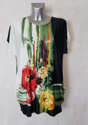 Tunique femme ronde vert floral col rond