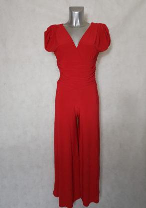 Combi-pantalon femme large uni rouge col V manches courtes