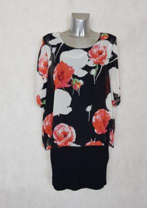 Robe femme bi-matière voile floral et jersey noir manches courtes