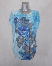 Tunique femme ronde azur fleurie-strass col rond et manches courtes