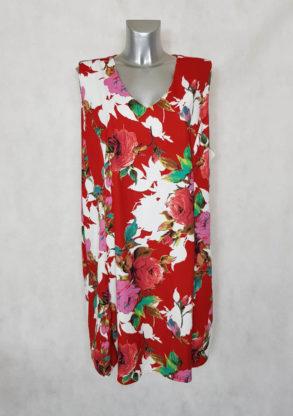 Robe femme ronde rouge floral sans manches coupe évasée