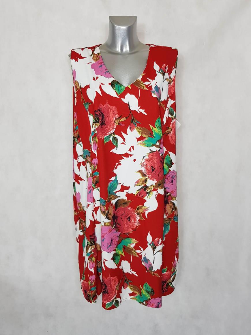 Robe femme ronde rouge floral sans manches coupe évasée2