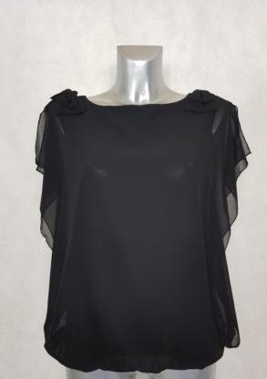 Tunique femme blousante noir 2 en 1 avec nœud et manches bénitier