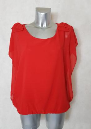 Tunique base élastique femme en voile rouge manches courtes et col rond