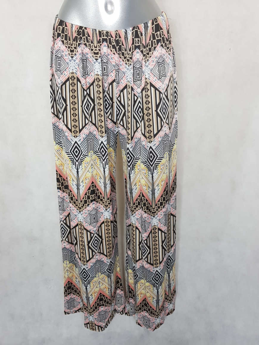 pantalon-femme-large-fluide-rose-motifs-aztec