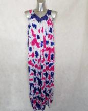 Robe femme longue évasée blanc motif tacheté à bretelles