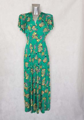 Robe femme longue évasée verte motif Wax