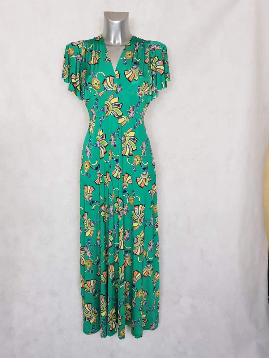 robe-femme-longue-evasee-verte-motif-wax