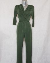 Combinaison pantalon femme kaki fuselée col V avec manches ¾ et ceinture à nouer