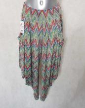 Pantalon sarouel femme taille haute élastiquée motif zig zag coupe avec entrejambe classique