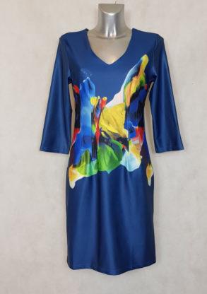 Robe femme droite bleu à motif abstrait et col V manches 3/4