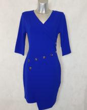 Robe femme droite bleu roi asymétrique et col V cache cœur.