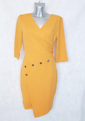 Robe femme droite moutarde asymétrique col V cache-cœur