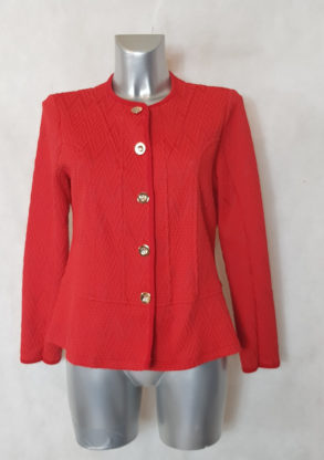 veste blazer femme ronde rouge avec motif