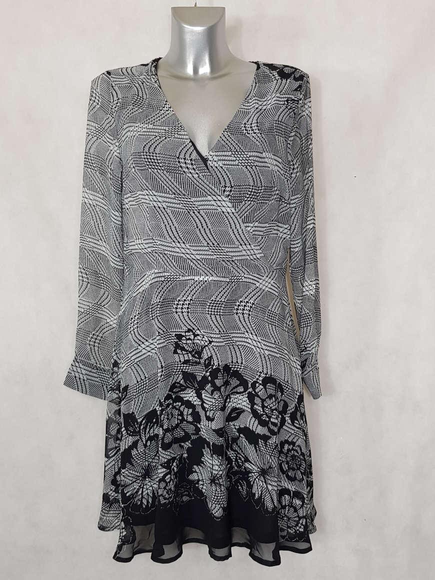 robe-femme-evasee-en-voile-floral-noir-et-blanc1