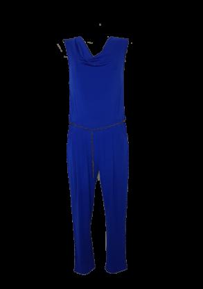 Combi-pantalon femme de soirée sans manches bleu roi col bénitier à ceinture