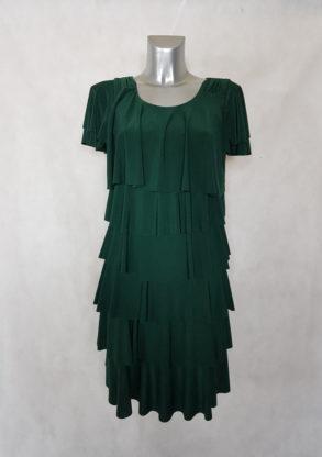 robe femme chic à volants superposés verte manches courtes