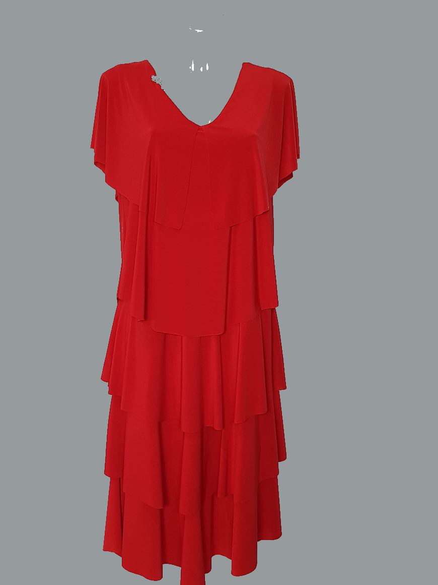 robe-femme-grande-taille-chic-rouge-a-volants