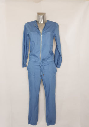Combinaison jeans femme taille élastique col zip cheville à smocks.