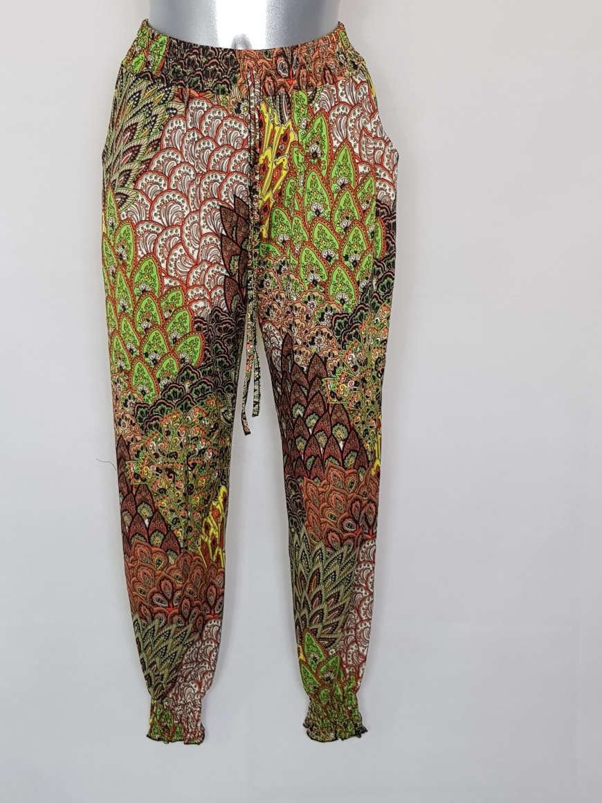 Pantalon bouffant femme taille et cheville smocks motif aztèque