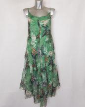 Robe femme longue à bretelle en voile motif floral vert