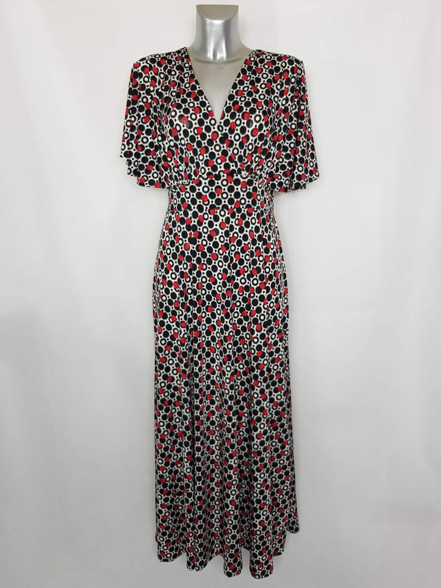 Robe longue à pois moderne femme fashion2