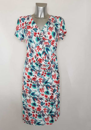 Robe portefeuille droite fleurie femme moderne