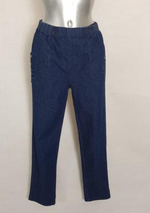 Pantalon jeans bleu femme ronde taille élastique