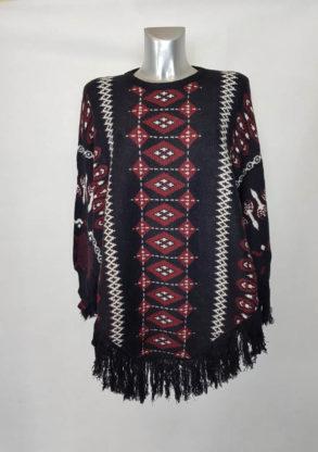 Poncho noir ethnique à frange femme