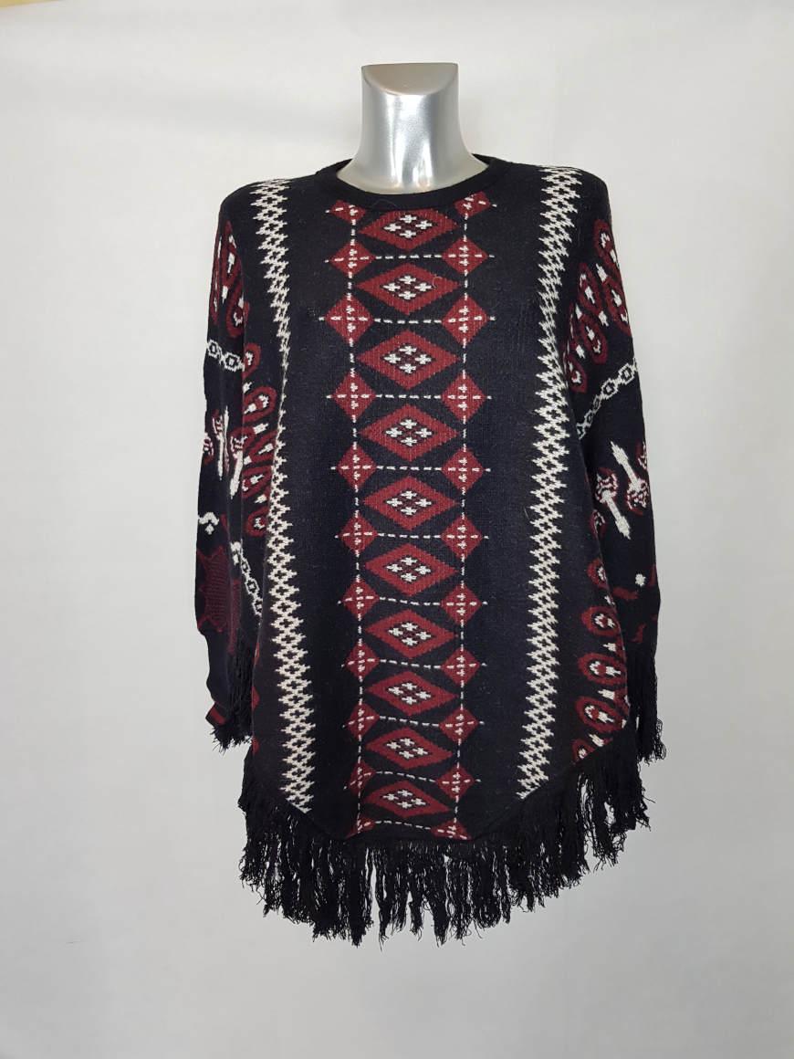 Poncho noir ethnique à frange femme 1