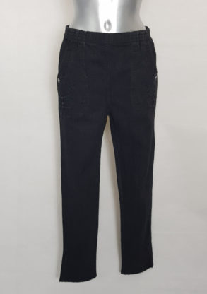 Pantalon jeans noir femme ronde taille élastique