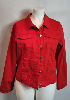 Veste jeans courte colorée femme grande taille
