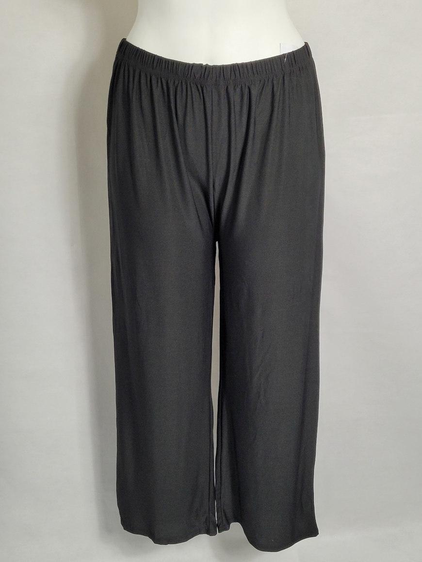 Pantalon large noir femme ronde taille élastique