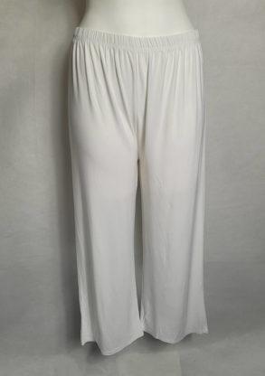 Pantalon large blanc femme ronde taille élastique